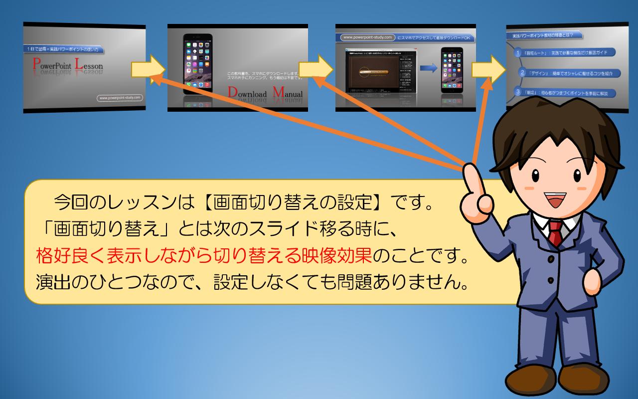 図解powerpoint 4 1 画面の切替アニメーション設定と削除